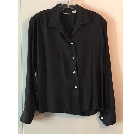 2c75dee1 Dior Tops | Vintage Christian Black Washable Silk Blouse | Poshmark